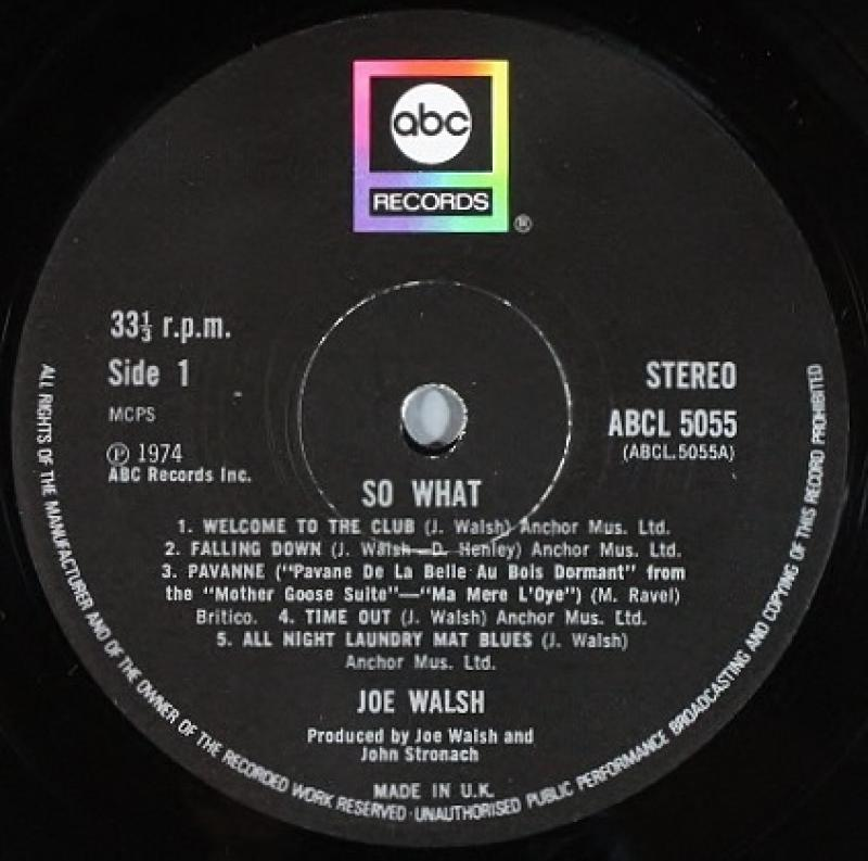 Joe Walsh /So What レコード通販のサウンドファインダー